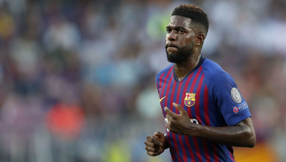 Samuel Umtiti of FC Barcelona during the UEFA Champions League group B match between FC Barcelona and PSV Eindhoven at the Camp Nou stadium on September 18, 2018 in Barcelona, Spain.(Photo by VI Images via Getty Images)