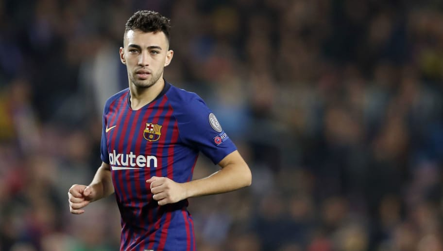 Munir El Haddadi of FC Barcelona during the UEFA Champions League group B match between FC Barcelona and Tottenham Hotspur FC at the Camp Nou stadium on December 11, 2018 in Barcelona, Spain(Photo by VI Images via Getty Images)