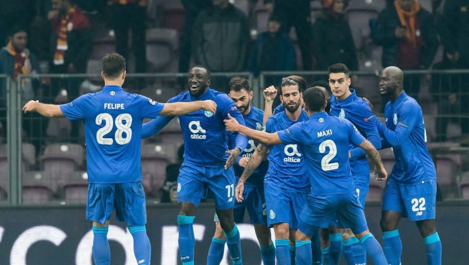 FC Porto celebrate the penalty goal of Moussa Marega of FC Porto during the UEFA Champions League group D match between Galatasaray AS and FC Porto at Ali Sami Yen Spor Kompleksi on December 11, 2018 in Istanbul, Turkey.(Photo by VI Images via Getty Images)