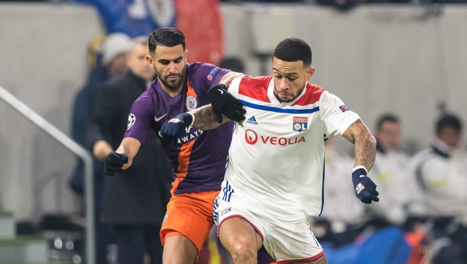 (L-R) Riyad Mahrez of Manchester City, Memphis Depay of Olympique Lyonnais during the UEFA Champions League group F match between Olympique Lyonnais and Manchester City at Stade de Lyon on November 27, 2018 in Decines, France(Photo by VI Images via Getty Images)