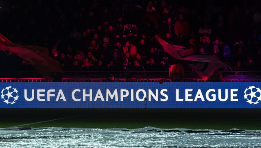 champions league logo in a dark stadium during the UEFA Champions League group F match between Olympique Lyonnais and Manchester City at Stade de Lyon on November 27, 2018 in Decines, France(Photo by VI Images via Getty Images)