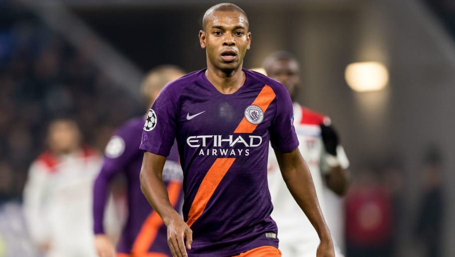 Fernandinho Luiz Roza of Manchester City during the UEFA Champions League group F match between Olympique Lyonnais and Manchester City at Stade de Lyon on November 27, 2018 in Decines, France(Photo by VI Images via Getty Images)