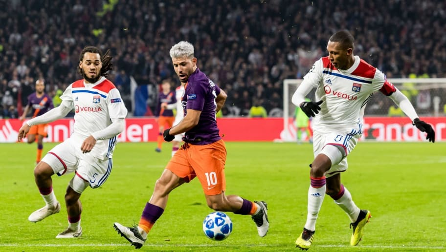 (L-R) Jason Denayer of Olympique Lyonnais, Sergio Aguero of Manchester City, Marcelo Antonio Guedes Filho of Olympique Lyonnais during the UEFA Champions League group F match between Olympique Lyonnais and Manchester City at Stade de Lyon on November 27, 2018 in Decines, France(Photo by VI Images via Getty Images)
