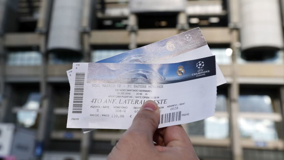 match tickets during the UEFA Champions League semi final match between Real Madrid and Bayern Munich at the Santiago Bernabeu stadium on May 01, 2018 in Madrid, Spain(Photo by VI Images via Getty Images)