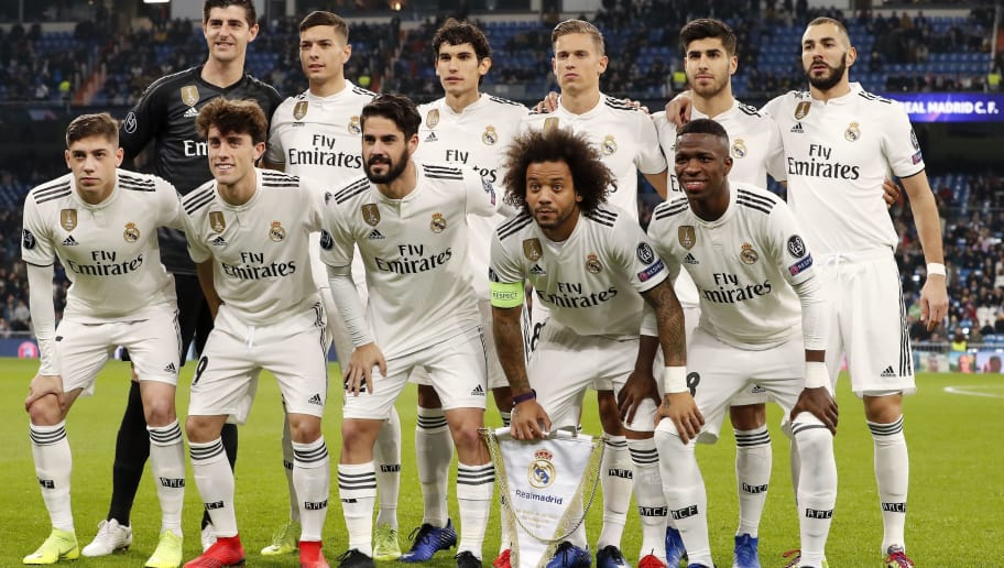 (Top Row L-R) Real Madrid goalkeeper Thibaut Courtois, Javier Sanchez of Real Madrid, Jesus Vallejo of Real Madrid, Marcos Llorente of Real Madrid, Marco Asensio of Real Madrid, Karim Benzema of Real Madrid    (Front row L-R) Fede Valverde of Real Madrid, Alvaro Odriozola of Real Madrid, Isco of Real Madrid, Marcelo of Real Madrid, Vinicius Junior of Real Madrid during the UEFA Champions League group G match between Real Madrid and CSKA Moskva at the Santiago Bernabeu stadium on December 12, 2018 in Madrid, Spain(Photo by VI Images via Getty Images)
