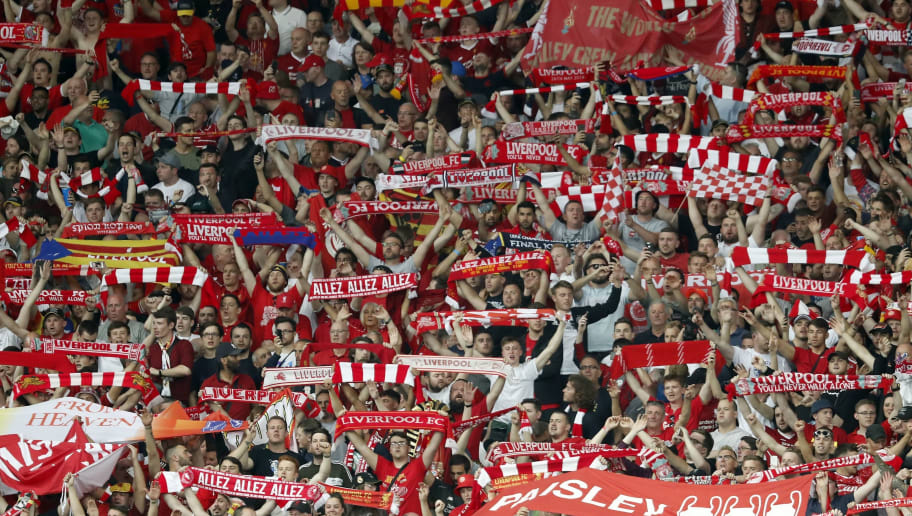 fans of Liverpool FC during the UEFA Champions League final between Real Madrid and Liverpool on May 26, 2018 at NSC Olimpiyskiy Stadium in Kyiv, Ukraine(Photo by VI Images via Getty Images)