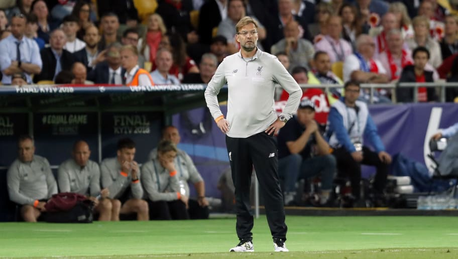 coach Jurgen Klopp of Liverpool FC during the UEFA Champions League final between Real Madrid and Liverpool on May 26, 2018 at NSC Olimpiyskiy Stadium in Kyiv, Ukraine(Photo by VI Images via Getty Images)