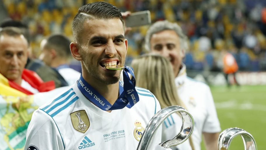 Dani Ceballos of Real Madrid with UEFA Champions League trophy, Coupe des clubs Champions Europeens during the UEFA Champions League final between Real Madrid and Liverpool on May 26, 2018 at NSC Olimpiyskiy Stadium in Kyiv, Ukraine(Photo by VI Images via Getty Images)
