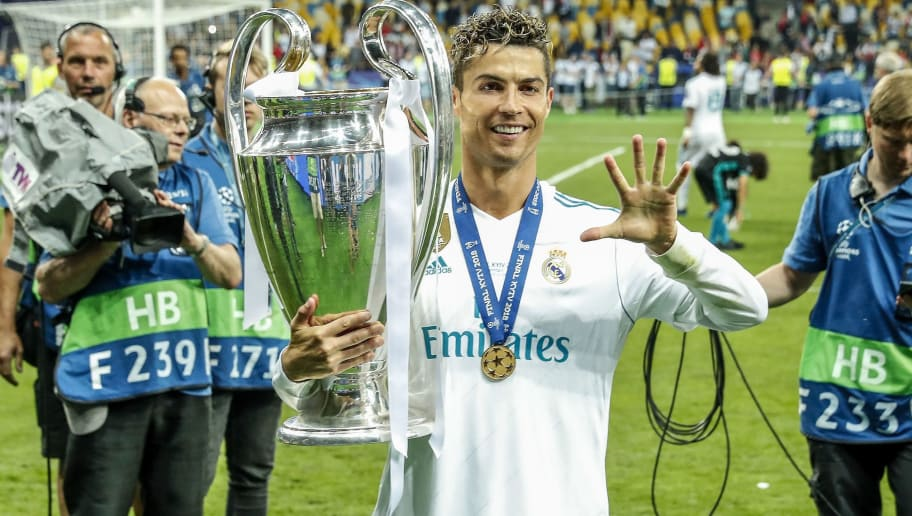 Cristiano Ronaldo of Real Madrid with UEFA Champions League trophy, Coupe des clubs Champions Europeens during the UEFA Champions League final between Real Madrid and Liverpool on May 26, 2018 at NSC Olimpiyskiy Stadium in Kyiv, Ukraine(Photo by VI Images via Getty Images)