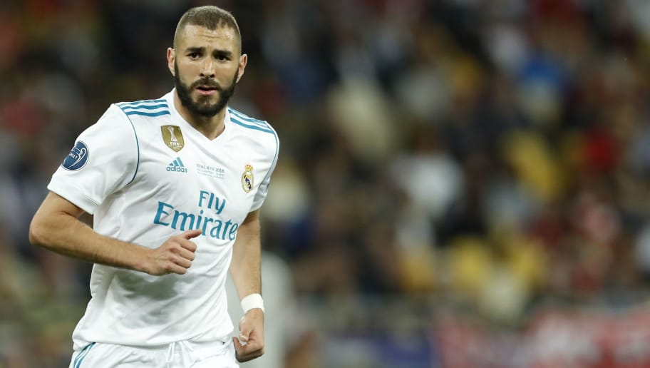 Karim Benzema of Real Madrid during the UEFA Champions League final between Real Madrid and Liverpool on May 26, 2018 at NSC Olimpiyskiy Stadium in Kyiv, Ukraine(Photo by VI Images via Getty Images)