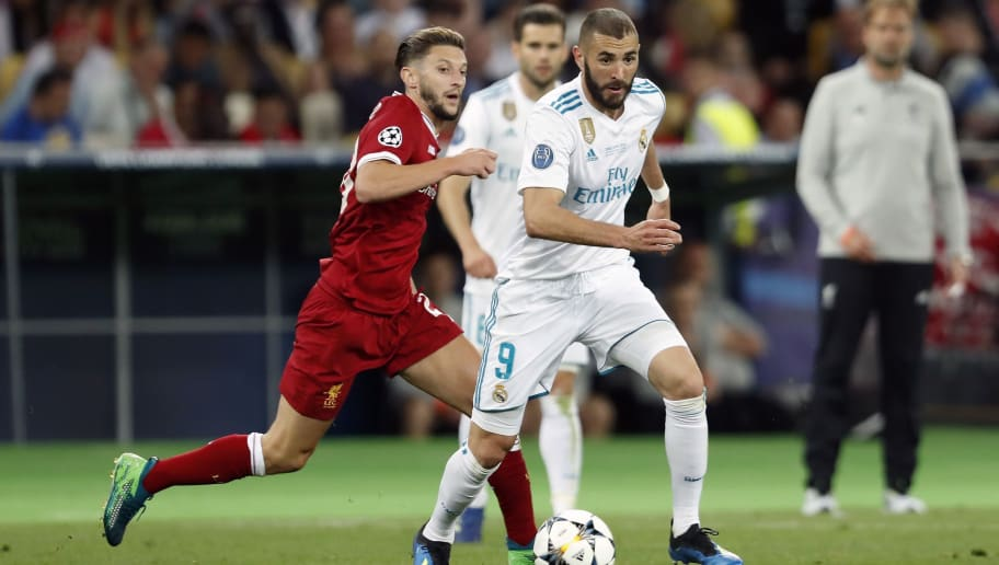 (L-R) Adam Lallana of Liverpool FC, Karim Benzema of Real Madrid during the UEFA Champions League final between Real Madrid and Liverpool on May 26, 2018 at NSC Olimpiyskiy Stadium in Kyiv, Ukraine(Photo by VI Images via Getty Images)
