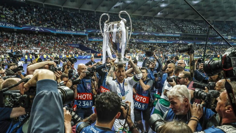 Sergio Ramos of Real Madrid with UEFA Champions League trophy, Coupe des clubs Champions Europeens during the UEFA Champions League final between Real Madrid and Liverpool on May 26, 2018 at NSC Olimpiyskiy Stadium in Kyiv, Ukraine(Photo by VI Images via Getty Images)