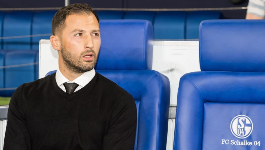 coach Domenico Tedesco of FC Schalke 04 DFL REGULATIONS PROHIBIT ANY USE OF PHOTOGRAPHS AS IMAGE SEQUENCES AND/OR QUASI-VIDEO. during the UEFA Champions League group D match between Schalke 04 and FC Porto at the Arena auf Schalke on September 18, 2018 in Gelschenkirchen, Germany(Photo by VI Images via Getty Images)