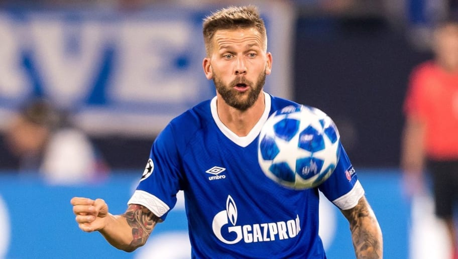 Guido Burgstaller of FC Schalke 04 DFL REGULATIONS PROHIBIT ANY USE OF PHOTOGRAPHS AS IMAGE SEQUENCES AND/OR QUASI-VIDEO. during the UEFA Champions League group D match between Schalke 04 and FC Porto at the Arena auf Schalke on September 18, 2018 in Gelschenkirchen, Germany(Photo by VI Images via Getty Images)