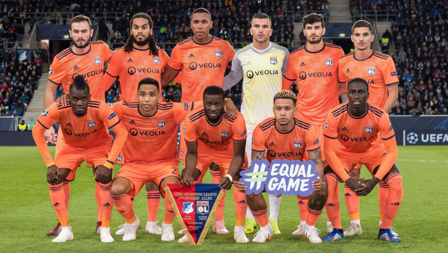 (BL-R) Lucas Tousart of Olympique Lyonnais, Jason Denayer of Olympique Lyonnais, Marcelo Antonio Guedes Filho of Olympique Lyonnais , goalkeeper Anthony Lopes of Olympique Lyonnais,  Martin Terrier of Olympique Lyonnais, Houssem Aouar of Olympique Lyonnais  (FL-R) Betrand Traore of Olympique Lyonnais, Kenny Tete of Olympique Lyonnais, Tanguy Ndombele of Olympique Lyonnais, Memphis Depay of Olympique Lyonnais, Ferland Mendy of Olympique Lyonnais during the UEFA Champions League group E match between TSG 1899 Hoffenheim and Olympique Lyonnais at Rhein-Neckar-Arena on October 23, 2018 in Sinsheim, Germany(Photo by VI Images via Getty Images)