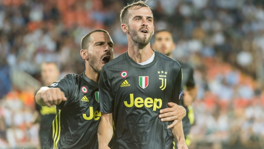 d1e6e67d2e0 Juventus FC celebrate a goal of Miralem Pjanic of Juventus FC during the  UEFA Champions League