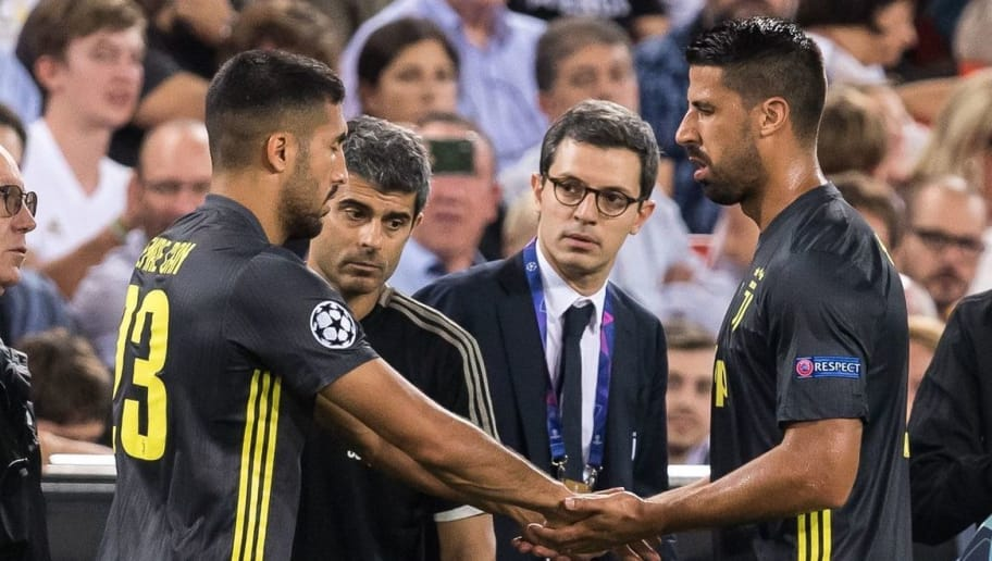 (L-R) Emre Can of Juventus FC, Sami Khedira of Juventus FC during the UEFA Champions League group H match between Valencia FC and Juventus FC at Estadi de Mestalla on September 19, 2018 in Valencia, Spain(Photo by VI Images via Getty Images)