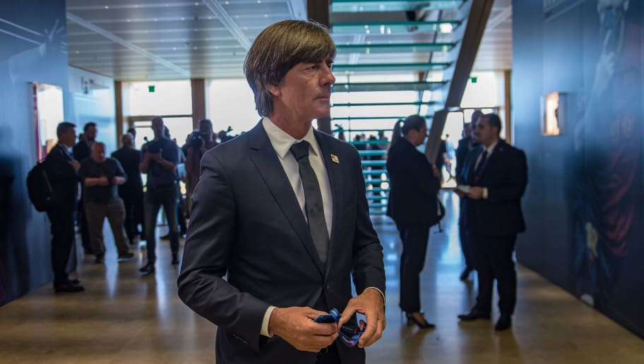 NYON, SWITZERLAND - SEPTEMBER 27: Joachim Low Germany National team head coach looks on during the UEFA EURO 2024 Host Announcement Ceremony on September 27, 2018 in Nyon, Switzerland. (Photo by Robert Hradil/Bongarts/Getty Images)