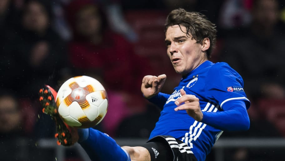 MADRID, SPAIN - FEBRUARY 22: Robert Skov of FC Copenhague in action during the UEFA Europa League 2017-18 Round of 32 (2nd leg) match between Atletico de Madrid and FC Copenhague at Wanda Metropolitano  on February 22 2018 in Madrid, Spain. (Photo by Power Sport Images/Getty Images)