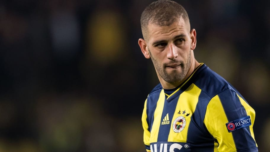 Islam Slimani of Fenerbahce SK during the UEFA Europa League group D match between Fenerbahce AS and RSC Anderlecht at the Sukru Saracoglu Stadium on November 08, 2018 in Istanbul, Turkey(Photo by VI Images via Getty Images)
