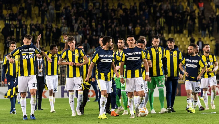 Fenerbahce celebrate the victory honouring the supporter Koray Sener who died during the last match against Galatasaray during the UEFA Europa League group D match between Fenerbahce AS and RSC Anderlecht at the Sukru Saracoglu Stadium on November 08, 2018 in Istanbul, Turkey(Photo by VI Images via Getty Images)