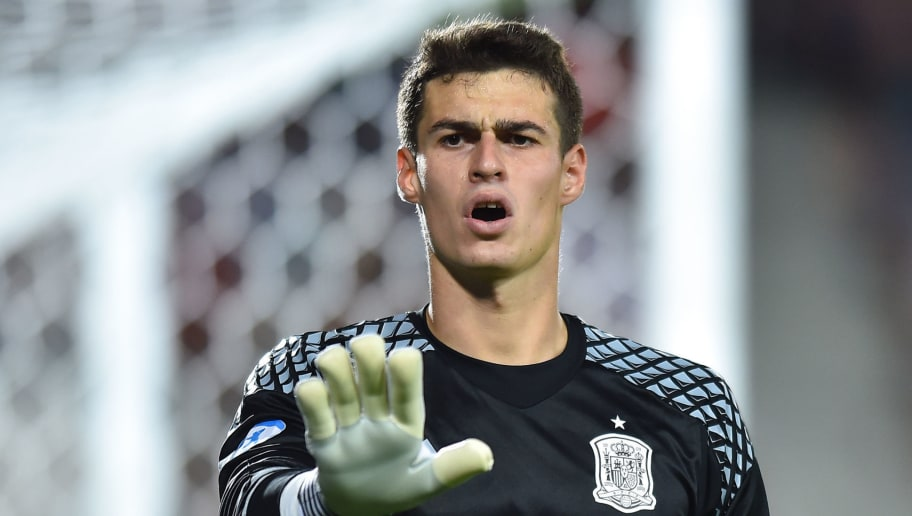 Kepa Arrizabalaga during the UEFA European Under-21 match between Spain and Italy on June 27, 2017 in Krakow, Poland. (Photo by MB Media)