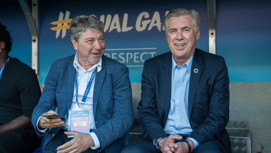GENEVA, SWITZERLAND - APRIL 21: Head Coach Carlo Ancelotti looks on during the UEFA Match for Solidarity at Stade de Geneva on April 21, 2018 in Geneva, Switzerland. (Photo by Robert Hradil/Getty Images)