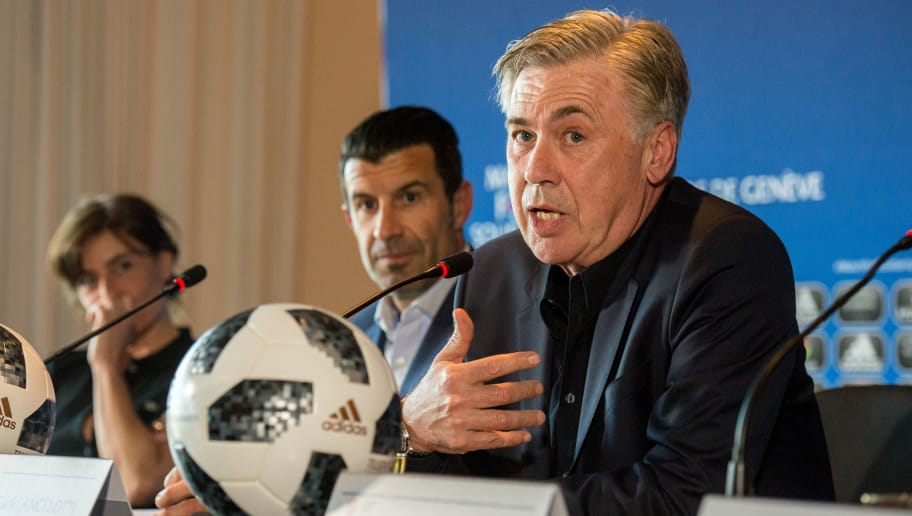 GENEVA, SWITZERLAND - APRIL 20: Head Coach Carlo Ancelotti gives a speech during the Press Conference of Match for Solidarity on April 20, 2018 at Grand Hotel Kempinski in Geneva, Switzerland. (Photo by Robert Hradil/Getty Images)