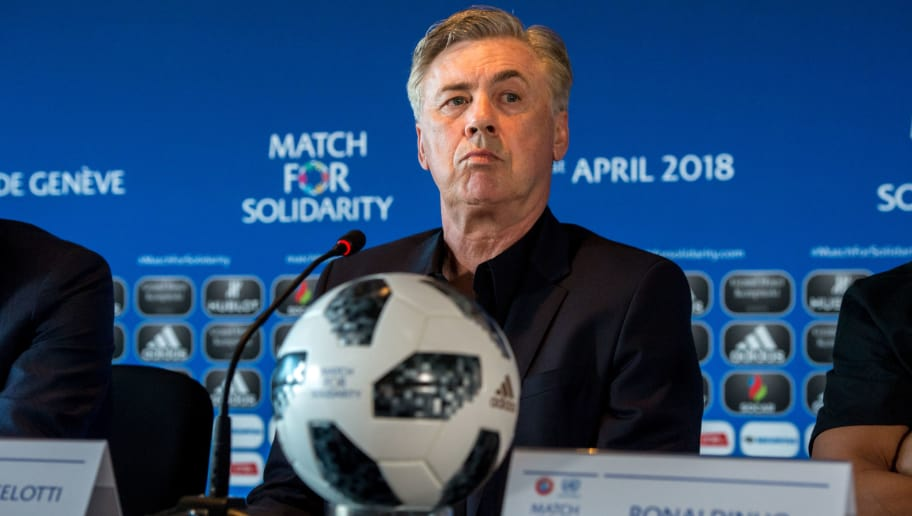 GENEVA, SWITZERLAND - APRIL 20: Head Coach Carlo Ancelotti looks on during the Press Conference of Match for Solidarity on April 20, 2018 at Grand Hotel Kempinski in Geneva, Switzerland. (Photo by Robert Hradil/Getty Images)