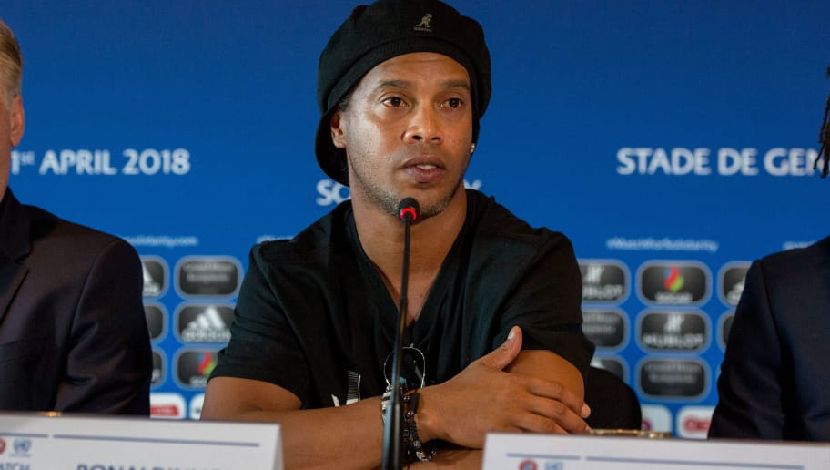GENEVA, SWITZERLAND - APRIL 20: Ronaldinho, Former Brazil and Barcelona player looks on during a press conference for Match for Solidarity on April 20, 2018 at Grand Hotel Kempinski in Geneva, Switzerland. (Photo by Robert Hradil/Getty Images)