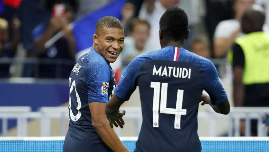 (L-R) Kylian Mbappe of France, Blaise Matuidi of France during the UEFA Nations League A group 1 qualifying match between France and The Netherlands on September 09, 2018 at Stade de France in Saint Denis,  France(Photo by VI Images via Getty Images)