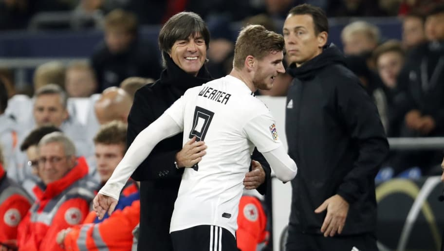 (l-r) Germany coach Joachim Low, Timo Werner of Germany during the UEFA Nations League A group 1 qualifying match between Germany and The Netherlands at the Veltins Arena on November 19, 2018 in Gelsenkirchen, Germany(Photo by VI Images via Getty Images)