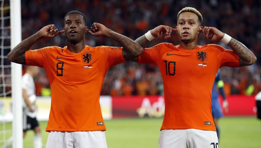 (l-r) Georginio Wijnaldum of Holland, Memphis Depay of Holland during the UEFA Nations League A group 1 qualifying match between The Netherlands and Germany at the Johan Cruijff Arena on October 13, 2018 in Amsterdam, The Netherlands(Photo by VI Images via Getty Images)
