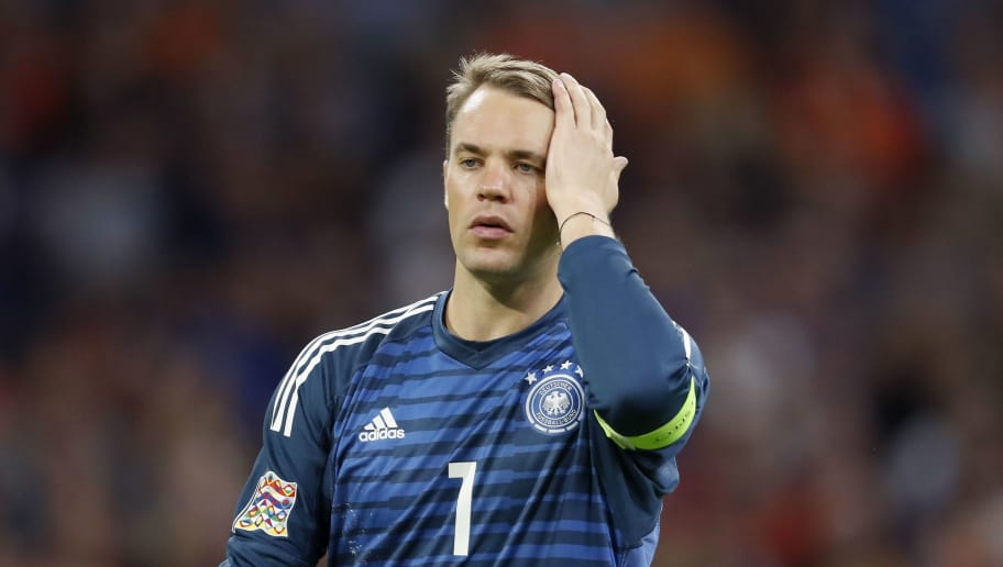 Germay goalkeeper Manuel Neuer during the UEFA Nations League A group 1 qualifying match between The Netherlands and Germany at the Johan Cruijff Arena on October 13, 2018 in Amsterdam, The Netherlands(Photo by VI Images via Getty Images)