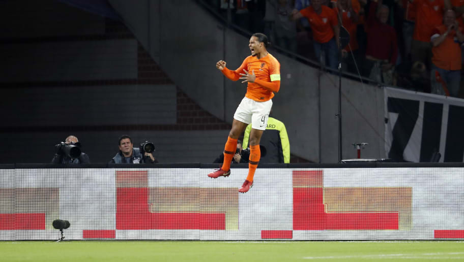 Virgil van Dijk of Holland during the UEFA Nations League A group 1 qualifying match between The Netherlands and Germany at the Johan Cruijff Arena on October 13, 2018 in Amsterdam, The Netherlands(Photo by VI Images via Getty Images)