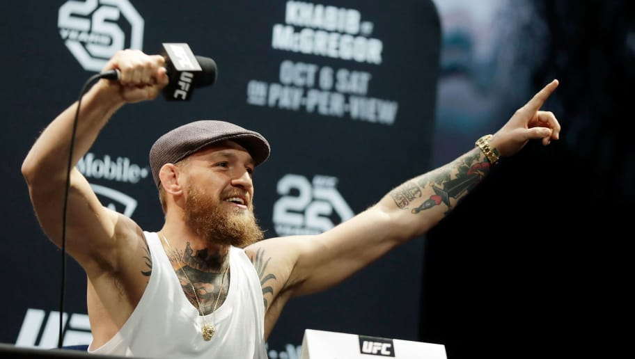 LAS VEGAS, NV - OCTOBER 04:  Conor McGregor speaks during a press conference for UFC 229 at Park Theater at Park MGM on October 04, 2018 in Las Vegas, Nevada. McGregor will challenge UFC lightweight champion Khabib Nurmagomedov for his title at UFC 229 on October 06 at T-Mobile Arena in Las Vegas, Nevada. (Photo by Isaac Brekken/Getty Images)
