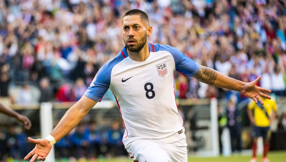 SEATTLE, WA - JUNE 16: Clint Dempsey #8 of United States celebrates his goal during the Copa America Centenario Quarterfinal match between United States and Ecuador at CenturyLink Field on June 16, 2016 in Seattle, Washington. The United States won the match 2-0. (Photo by Shaun Clark/Getty Images)