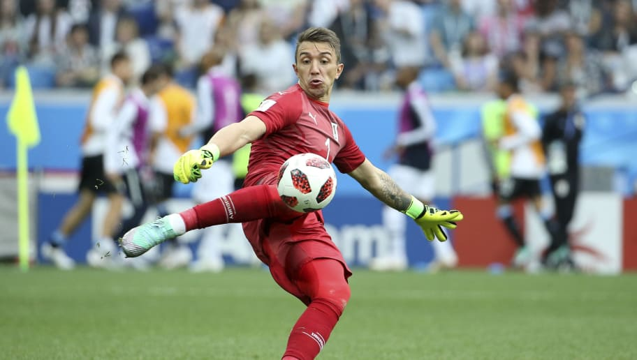 NIZHNY NOVGOROD, RUSSIA - JULY 6: Goalkeeper of Uruguay Fernando Muslera during the 2018 FIFA World Cup Russia Quarter Final match between Uruguay and France at Nizhny Novgorod Stadium on July 6, 2018 in Nizhny Novgorod, Russia. (Photo by Jean Catuffe/Getty Images)