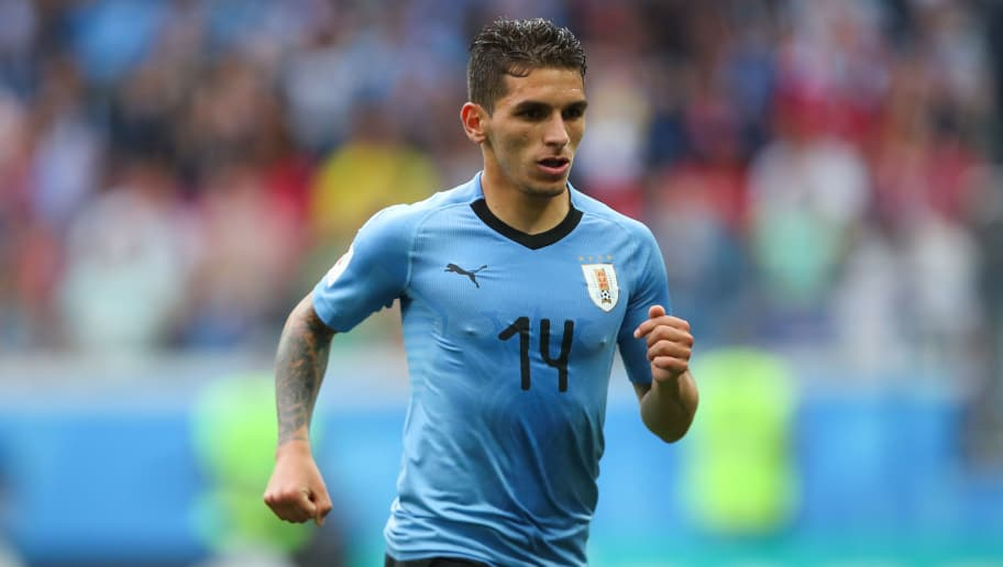 NIZHNY NOVGOROD, RUSSIA - JULY 06:   Lucas Torreira of Uruguay in action during the 2018 FIFA World Cup Russia Quarter Final match between Uruguay and France at Nizhny Novgorod Stadium on July 6, 2018 in Nizhny Novgorod, Russia. (Photo by Robbie Jay Barratt - AMA/Getty Images)