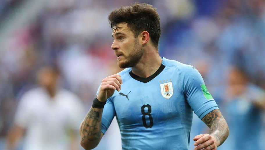 NIZHNY NOVGOROD, RUSSIA - JULY 06:   Nahitan Nandez of Uruguay in action during the 2018 FIFA World Cup Russia Quarter Final match between Uruguay and France at Nizhny Novgorod Stadium on July 6, 2018 in Nizhny Novgorod, Russia. (Photo by Robbie Jay Barratt - AMA/Getty Images)