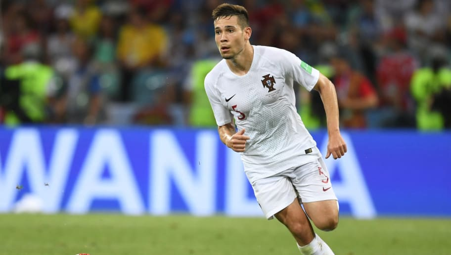 Raphael Guerreiro of Portugal in action during the 2018 FIFA World Cup Russia Round of 16 match between Uruguay and Portugal at Fisht Stadium on June 30, 2018 in Sochi, Russia.