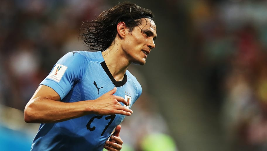 SOCHI, RUSSIA - JUNE 30: Edinson Cavani of Uruguay is seen during the 2018 FIFA World Cup Russia Round of 16 match between Uruguay and Portugal at Fisht Stadium on June 30, 2018 in Sochi, Russia. (Photo by Ian MacNicol/Getty Images)