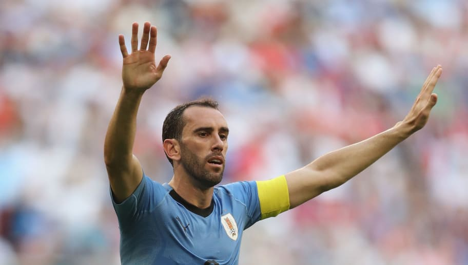 SAMARA, RUSSIA - JUNE 25:  Diego Godin of Uruguay during the 2018 FIFA World Cup Russia group A match between Uruguay and Russia at Samara Arena on June 25, 2018 in Samara, Russia.  (Photo by Michael Steele/Getty Images)