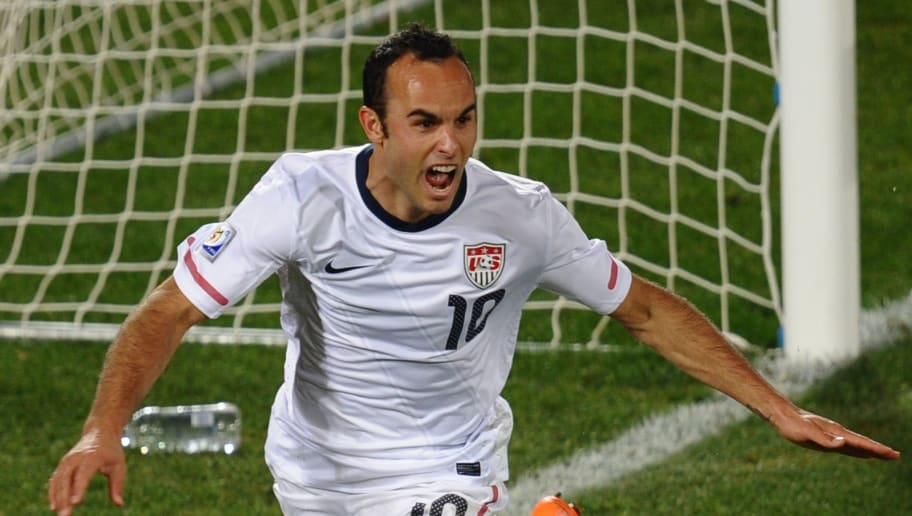 US midfielder Landon Donovan celebrates
