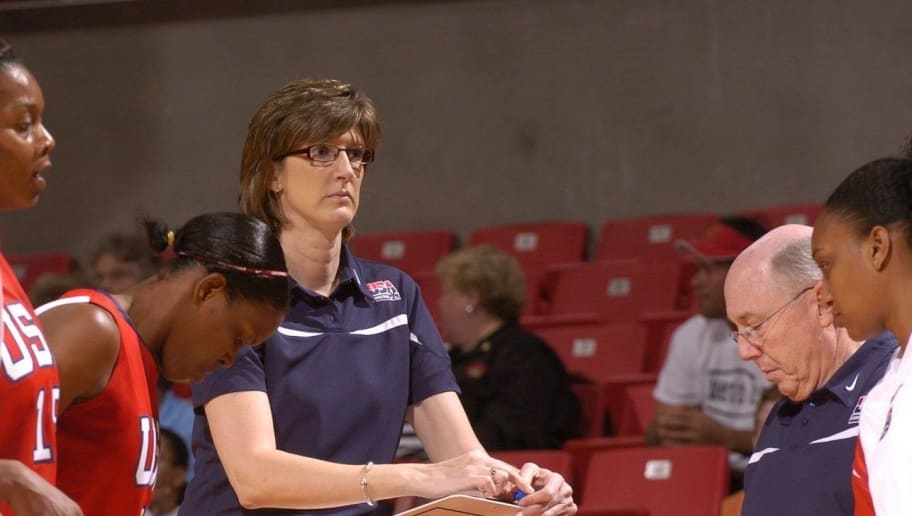 COLLEGE PARK, MD - OCTOBER 31:  Head Coach Anne Donovan of the United States National Team talks to her players during the game against the Maryland Terrapins October 31, 2007 at Comcast Center in College Park, Maryland. (Photo by G Fiume/Getty Images)