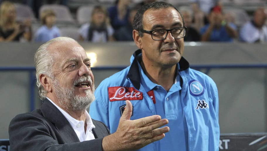 REGGIO NELL'EMILIA, ITALY - AUGUST 23:  SSC Napoli president Aurelio De Laurentiis and SSC Napoli coach Maurizio Sarri before the Serie A match between US Sassuolo Calcio and SSC Napoli at Mapei Stadium - Città del Tricolore on August 23, 2015 in Reggio nell'Emilia, Italy.  (Photo by Marco Luzzani/Getty Images)