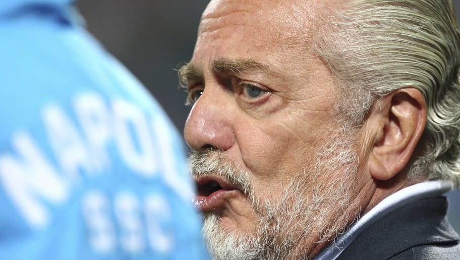 REGGIO NELL'EMILIA, ITALY - AUGUST 23:  SSC Napoli president Aurelio De Laurentiis looks on before the Serie A match between US Sassuolo Calcio and SSC Napoli at Mapei Stadium - Città del Tricolore on August 23, 2015 in Reggio nell'Emilia, Italy.  (Photo by Marco Luzzani/Getty Images)