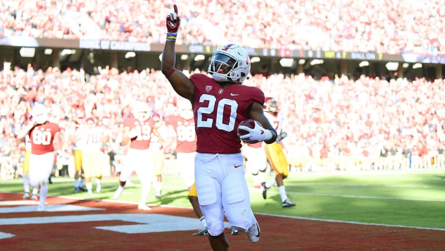 PALO ALTO, CA - SEPTEMBER 08:  Bryce Love #20 of the Stanford Cardinal celebrates after scoring on a seven yard touchdown run against the USC Trojans in the first quarter of an NCAA football game at Stanford Stadium on September 8, 2018 in Palo Alto, California.  (Photo by Thearon W. Henderson/Getty Images)