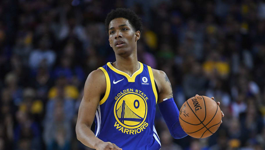 OAKLAND, CA - MARCH 25:  Patrick McCaw #0 of the Golden State Warriors dribbles the ball against the Utah Jazz during an NBA basketball game at ORACLE Arena on March 25, 2018 in Oakland, California. NOTE TO USER: User expressly acknowledges and agrees that, by downloading and or using this photograph, User is consenting to the terms and conditions of the Getty Images License Agreement.  (Photo by Thearon W. Henderson/Getty Images)