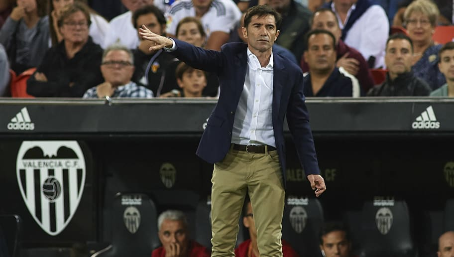 VALENCIA, SPAIN - OCTOBER 07:  Marcelino Garcia Toral, Manager of Valencia reacts during the La Liga match between Valencia CF and FC Barcelona at Estadio Mestalla on October 7, 2018 in Valencia, Spain.  (Photo by Manuel Queimadelos Alonso/Getty Images)